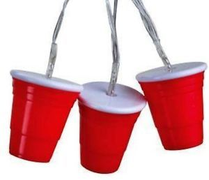 Red Solo Cup Party String Lights 12 ft Battery Operated Tailgating Patio Redneck