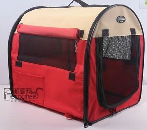 "27"" Pet Dog Cat Carrier Travel Bag Crate Tent Cage Folding w Case Red Beige"