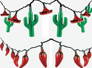 Fiesta Red Pepper N Cactus Sombrero Indoor Outdoor Use Party String Lights
