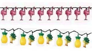 Summer Fun Flamingo Pineapple Palm Tree Indoor Outdoor Use Party String Lights
