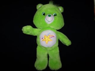 "Care Bears 2007 Oopsy Bear 14"" Green Fur with Yellow Shooting Star Plush Toy"