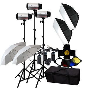 900W Studio Monolight Strobes Flash Lighting Kit with Carry Case