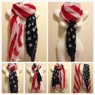 New Patriotic USA American Flag Theme Crinkle Scarf Wrap US SHIP