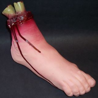 Gory Feet Cut Off Leg Bloody Fake Halloween Prop Foot