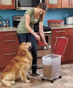 3 Piece Durable Airtight Stackable Rolling Pet Dog Cat Food Snack Container Set
