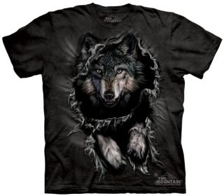 3 D Breakthrough Wolf Tee T Shirt Ripping Adult Large by The Mountain