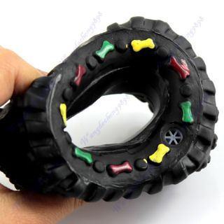 Pet Dog Puppy Cat Animal Chews Squeaky Squeaker Sound Rubber Tire Shape Toy New