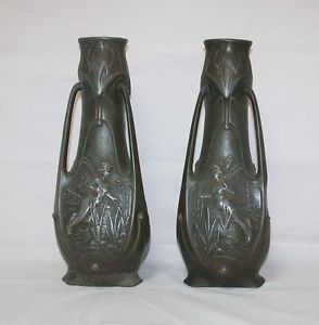 Antique French Art Nouveau 2 Pewter Vases Set Lot 19th
