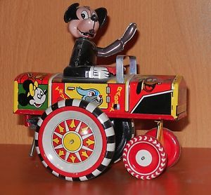 Antique Tin Wind Up Marx Mickey Mouse Crazy Car Nice Glossy Clean Toy