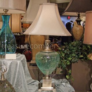 Coastal Beach Chic Table Lamp Blue Green Crackle Glass