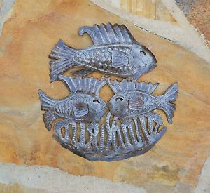 "Haitian Metal Art Sculpture 15"" Triple Fish Wall Decor Indoor Outdoor Art"