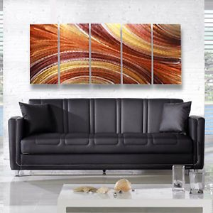 Large Brown Earthtone Modern Metal Abstract Wall Art Painting Sculpture Decor
