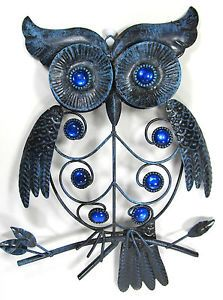 Owl Metal with Jewels Wall Hanging Art Navy Blue Distressed Home Decor