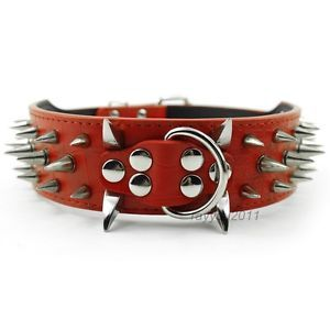 Red 2inch Wide Spiked Studded Leather Dog Collars Pitbull Mastiff Boxer Collars