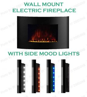 "Large 35 5""x22"" 1500W Adjustable Heat Electric Wall Mount Fireplace Side Lights"