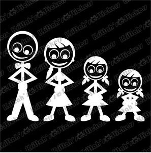 "Family Stick Figures Dad Mom Girl Little Girl Vinyl Decal 6x4"" Car Sticker A011"