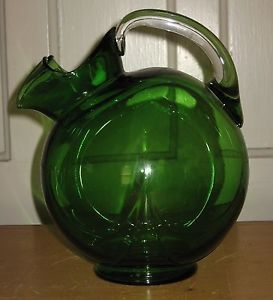 Vintage Large Cambridge Emerald Green Glass Tilt Ball Water Pitcher Clear Handle