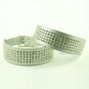 Silver Crystal Jeweled Pet Leather Dog Collars Bling Rhinestone Dog Collars