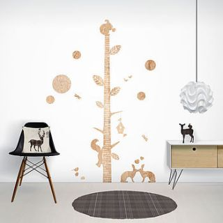 wood print height chart wall stickers by funky little darlings