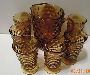Indiana Glass Amber Gold Whitehall Water Set Pitcher w 6 tumblers glasses