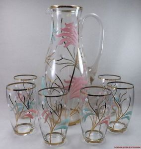 SH8 Vintage Bohemian Czech 7pcs Glass Water Set Pitcher 6 Glasses Enamel