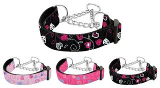 Dog Pet Puppy Crazy Hearts Martingale Nylon Collar Limited Slip Safety Leash