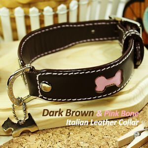 Luxury and Cute Dog Collar Brown Pink Bone Genuine Leather Durable Leash Charm