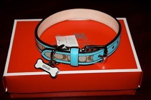 Coach Legacy Signature Pet Dog Collar Robin Blue Small 64556