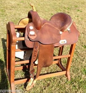 "14"" Crates Barrel Racing Saddle Genuine Squeak Huber"
