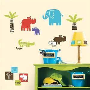 27 New Block Safari Animals Wall Decals Jungle Stickers Kids Baby Nursery Decor