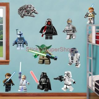 Lego Star Wars 11 Characters Decal Removable Wall Sticker Home Decor Art OBI Wan