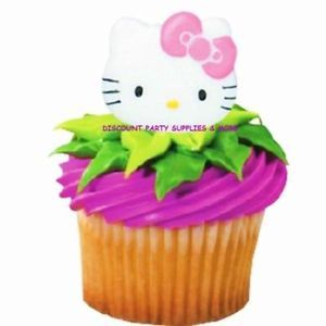 Hello Kitty Cupcake Rings Toppers Party Favors Cake Decorations 6ct