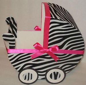 Baby Shower Decorations Zebra and Hot Pink Baby Carriage
