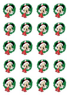 20 Disney Christmas Nail Decals Mickey with Wreath Water Slide Nail Decals