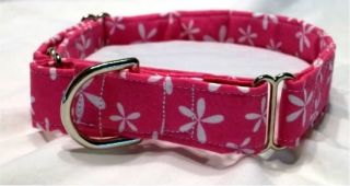 Pink White Flower Martingale Dog Collar or Set w Leash