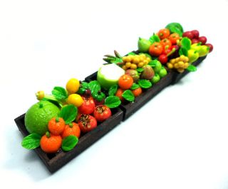 Magnet Miniature Fruits in Wooden Crates Set Mix Handmade Foods Clay Deco Supply
