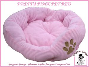 WOW Designer Pink Dog Puppy Pet Bed with Paw Print for Small Dogs Only £9 99