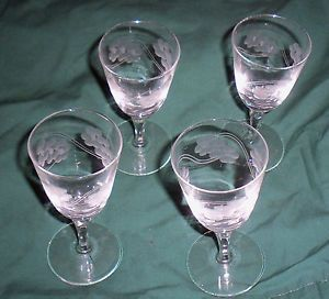 Grape Etched Wine Glasses