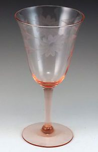 Vintage Pink Depression Glass Stemmed Footed Etched Goblet Wine Glass