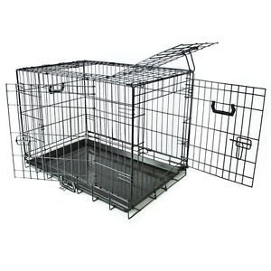 "30"" Small Folding Wire Dog Puppy Crate Cage Kennel 3 Doors Divider Suitcase New"