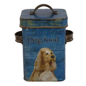 Vintage Style Cocker Spaniel Dog Treat Tin Bin Container Can Blue Food New 0