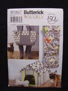 New Butterick B5867 Pet Sewing Pattern Fabric Dog House Carrying Tote Organizer