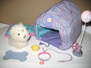 "Pleasant Co American Girl 18"" Doll Pet Puppy Dog Coconut Dog House Accessory Lot"