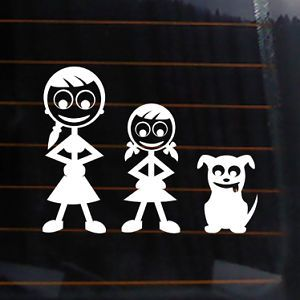 "Family Stick Figures Mom Daughter Dog Vinyl Decal 5x4"" Car Sticker Design A003"