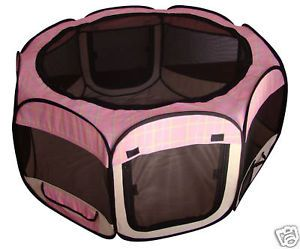 Pink Grid Pet Dog Cat Tent Puppy Playpen Exercise Pen