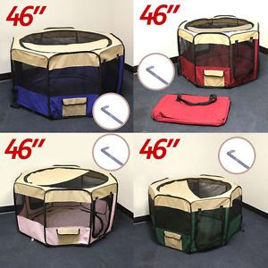 "4 COLOR46""Soft Pet Playpen Exercise Puppy Dog Cat Play Pen Kennel Folding Crate"