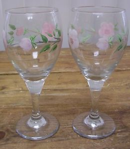 Franciscan Desert Rose 2 Wine Glass Glasses Pink Flower Brown Stem England