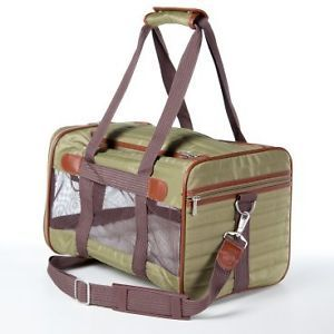 Sherpa Original Deluxe Classic Pet Dog Cat Carrier Crate Bag L Olive 22lbs
