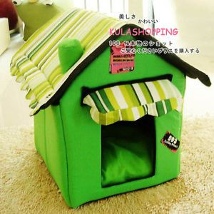 Fashion Pet Dog Cat Pet Tent House Bed Foldable Green Color