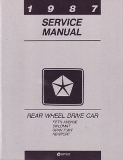 1987 Chrysler Plymouth Dodge Rear Wheel Drive Shop Service Repair Manual Factory